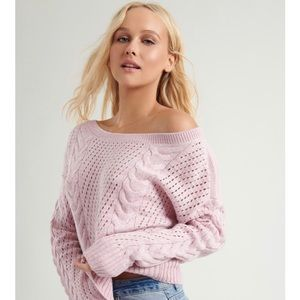 The HARLOW Sweater GARAGE sugar pink cable knit